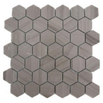 Splashback Tile Athens Grey Hexagon 12 in. x 12 in.x 8 mm Polished Marble Floor and Wall Tile