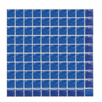 Daltile Sonterra Glass Kihea Blue Iridescent 12 x 12 x 6mm Glass Sheet Mounted Mosaic Wall Tile (10 sq. ft. / case)-DISCONTINUED