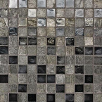 Studio E Edgewater Silverstrand 1 in. x 1 in. 11 3/4 in. x 11 3/4 in. Glass and Slate Floor & Wall Mosaic Tile-DISCONTINUED