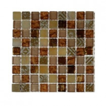 Splashback Tile Metallic Carved Egyptian's Gold Blend 1/2 in. x 1/2 in. Marble and Glass Tiles - 6 in. x 6 in. x 8 mm Tile Sample