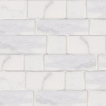 Jeffrey Court Statuario Block 12 in. x 12 in. x 8 mm White Marble Mosaic Floor/Wall Tile