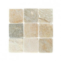 Daltile Travertine Autumn Mist 4 in. x 4 in. Slate Floor and Wall Tile (6 sq. ft. / case)