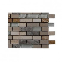 Splashback Tile Arizona Rain Blend Pitzy Brick Glass and Marble Mosaic Tiles - 6 in. x 6 in. Tile Sample