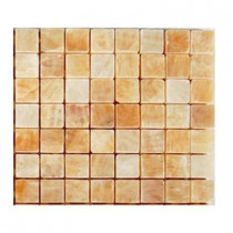 Splashback Tile Honey Onyx 3/4 in. x 3/4 in. Marble Mosaic Tile - 6 in. x 6 in. Tile Sample-DISCONTINUED