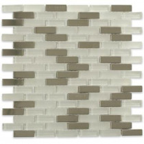 Splashback Tile Contempo Ice Cave 1/2 in. x 2 in. Brick Pattern Metal and Glass Tile Sample