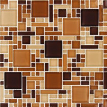 MS International Chestnut Blend Magic Pattern 12 in. x 12 in. x 8 mm Glass Mesh-Mounted Mosaic Tile