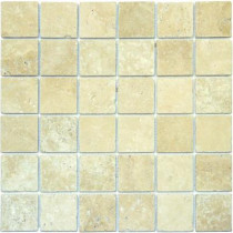 MS International Chiaro 12 in. x 12 in. x 10 mm Tumbled Travertine Mesh-Mounted Mosaic Tile