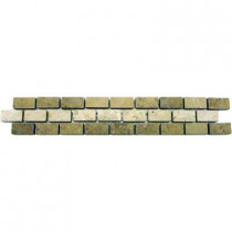 MS International Broken Joint Noche/Chiaro 2 in. x 12 in. Travertine Listello Floor and Wall Tile