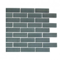 Splashback Tile Contempo Blue Gray 1/2 in. x 2 in. Brick Pattern Tile Sample
