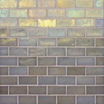 Studio E Edgewater Dune 1 in. x 2 in. 10-5/8 in. x 10-5/8 in. Glass Floor & Wall Mosaic Tile-DISCONTINUED