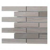 Splashback Tile Athens Grey Stack Polished Marble Floor and Wall Tile - 6 in. x 6 in. x 8 mm Floor and Wall Tile Sample