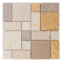 Jeffrey Court Brick Medley 12 in. x 12 in. x 8 mm Travertine Mosaic Floor/Wall Tile