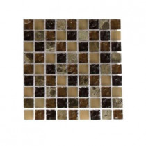 Splashback Tile Cask Brown Blend 1/2 in. x 1/2 in. Marble and Glass Tile Sample