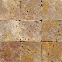 MS International Gold 4 In. x 4 In. Tumbled Travertine Floor and Wall Tile (1 sq. ft. / case)