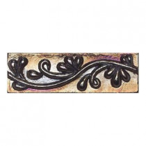 Daltile Cristallo Glass Black Opal 3 in. x 8 in. Vine Glass Accent Wall Tile