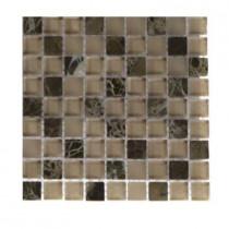 Splashback Tile Namib Desert Blend Squares 1/2 in. x 1/2 in. Marble and Glass Tile Squares - 6 in. x 6 in. x 8 mm Tile Sample