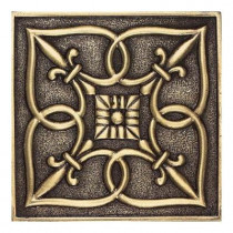 Daltile Massalia Bullion 4 in. x 4 in. Metal Fleur de Lis Wall Tile-DISCONTINUED