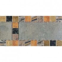 Daltile Terra Antica Celeste/Grigio 6 in. x 12 in. Porcelain Decorative Accent Floor and Wall Tile