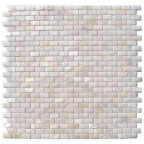 Splashback Tile Mother of Pearl Mini Brick Pattern 12 in. x 12 in. x 8 mm Mosaic Floor and Wall Tile