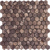 MS International Emperador Dark 12 in. x 12 in. x 10 mm Tumbled Marble Mesh-Mounted Mosaic Floor and Wall Tile (10 sq. ft. / case)