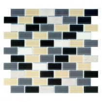 Jeffrey Court Driftwood 12 in. x 12 in. Blue/Gray Brick Mosaic Tile-DISCONTINUED