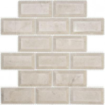 Jeffrey Court Creama 2 x 4 Beveled 12 in. x 12 in. x 10 mm Marble Mosaic Wall Tile