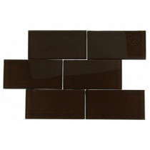 Splashback Tile Contempo 3 in. x 6 in. Mahogany Polished Glass Tile-DISCONTINUED