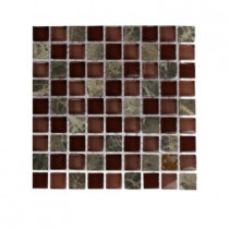 Splashback Tile Whiskey Blend 1/2 in. x 1/2 in. Glass and Marble Mosaic Sample