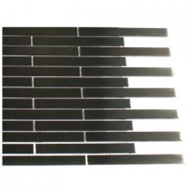 Splashback Tile Metal Nero Stainless Steel 1/2 in. x 4 in. Stick Brick Tiles - 6 in. x 6 in. Tile Sample-DISCONTINUED