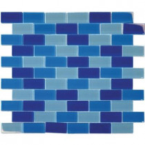 MS International Blue Blend 12 in. x 12 in. x 8 mm Glass Mesh-Mounted Mosaic Tile (10 sq. ft. / case)