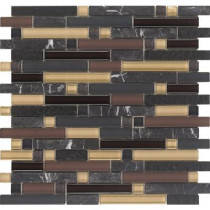 Epoch Architectural Surfaces Varietals Pinot Noir-1655 Stone And Glass Blend Mesh Mounted Floor and Wall Tile - 2 in. x 12 in. Tile Sample