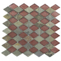 Splashback Tile Tectonic Diamond Multicolor Slate and Rust 12 in. x 12 in. x 8 mm Glass Mosaic Floor and Wall Tile