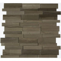 Splashback Tile Dimension 3D Brick Athens Gray Pattern 12 in. x 12 in. x 8 mm Marble Mosaic Floor and Wall Tile