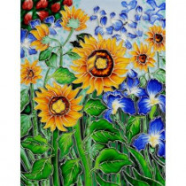 overstockArt Van Gogh, Sunflowers and Irises Trivet and Wall Accent 11 in. x 14 in. Tile (felt back)-DISCONTINUED