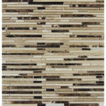 MS International Emperador Blend Bamboo 12 in. x 12 in.Brown Marble Mesh-Mounted Mosaic Tile