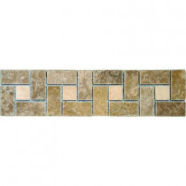 MS International Noche Chiaro Basket Weave 3 in. x 12 in.Travertine Listello Floor and Wall Tile