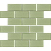 MS International Mint Green Subway 12 in. x 12 in. Glass Mesh-Mounted Mosaic Tile