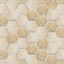 Jeffrey Court Gold Travertine Hex 12 in. x 12 in. x 8 mm Mosaic Wall Tile