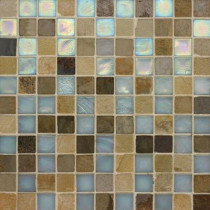 Studio E Edgewater Summerland 1 in. x 1 in. 11 3/4 in. x 11 3/4 in. Glass and Slate Wall & Floor Mosaic Tile-DISCONTINUED