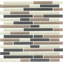 EPOCH Color Blends Selva Neblina-1601-Ms Matte Strips Mosaic Glass Mesh Mounted Tile - 4 in. x 4 in. Tile Sample-DISCONTINUED