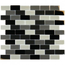 MS International Black Blend 12 in. x 12 in. x 8 mm Glass Mesh-Mounted Mosaic Tile (10 sq. ft. / case)