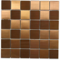 Splashback Tile Metal Copper 2 in. Squares 12 in. x 12 in. x 8 mm Stainless Steel Backsplash Tile
