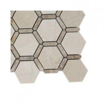 Splashback Tile Ambrosia Crema Marfil and Light Emperador Stone Mosaic Floor and Wall Tile - 6 in. x 6 in. Floor and Wall Tile Sample