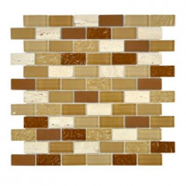 Jeffrey Court Camel Beige 12 in. x 12 in. x 8 mm Glass Mosaic Wall Tile