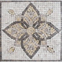 MS International Floral Blend Medallion 12 in. x 12 in. Tumbled Marble Mesh Mounted Mosaic Tile