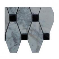 Splashback Tile Artois Pattern White Carrera With Black Dot Marble Tile Sample