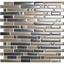EPOCH Brushstrokes Grigio-1504-S Strips Mosaic Glass 12 in. x 12 in. Mesh Mounted Tile (5 sq. ft.)