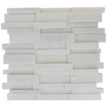Splashback Tile Dimension 3D Brick White Thassos Marble 12 in. x 12 in. x 8 mm Mosaic Floor and Wall Tile