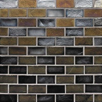 Studio E Edgewater Outer Banks 1 in. x 2 in. 10-5/8 in. x 10-5/8 in. Glass Floor & Wall Mosaic Tile-DISCONTINUED