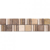 MS International Mixed Travertine Border 3 in. x 12 in. Floor and Wall Tile